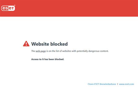 بسته شدن سایت توسط آنتی ویروس eset