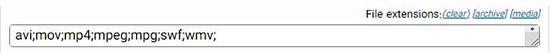 تنظیمات بخش پسوند فایل ها در افزونه داپلیکتور