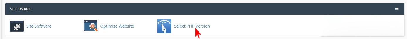 تغییر ورژن php از طریق گزینه select php version