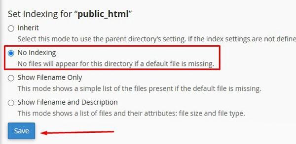غیرفعال کردن نمایش لیست فایل ها و پوشه های سایت