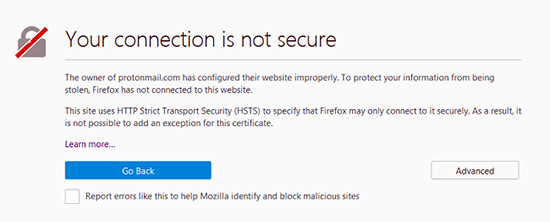 خطای your connection is not secure