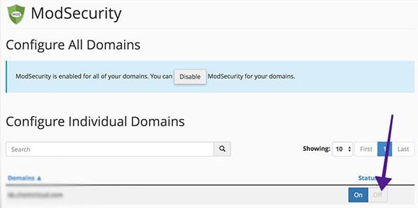 تنظیمات ModSecurity در Cpanel