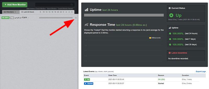 ثبت سایت جهت بررسی وضعیت Uptime آپتایم سایت