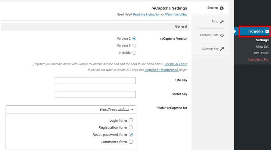 درج کپچا برای وردپرس با افزونه reCaptcha by BestWebSoft