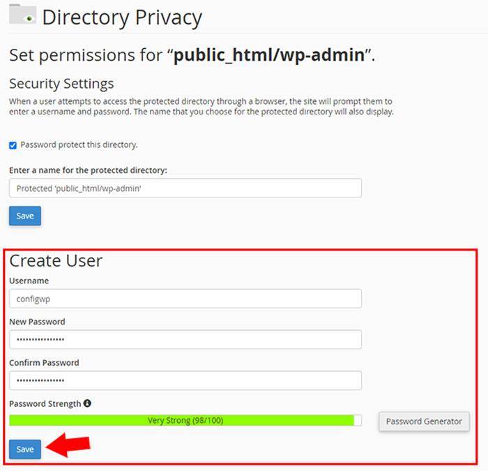 ساخت کاربر جدید در directory privacy