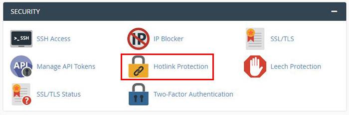 Hotlink Protection در سی پنل