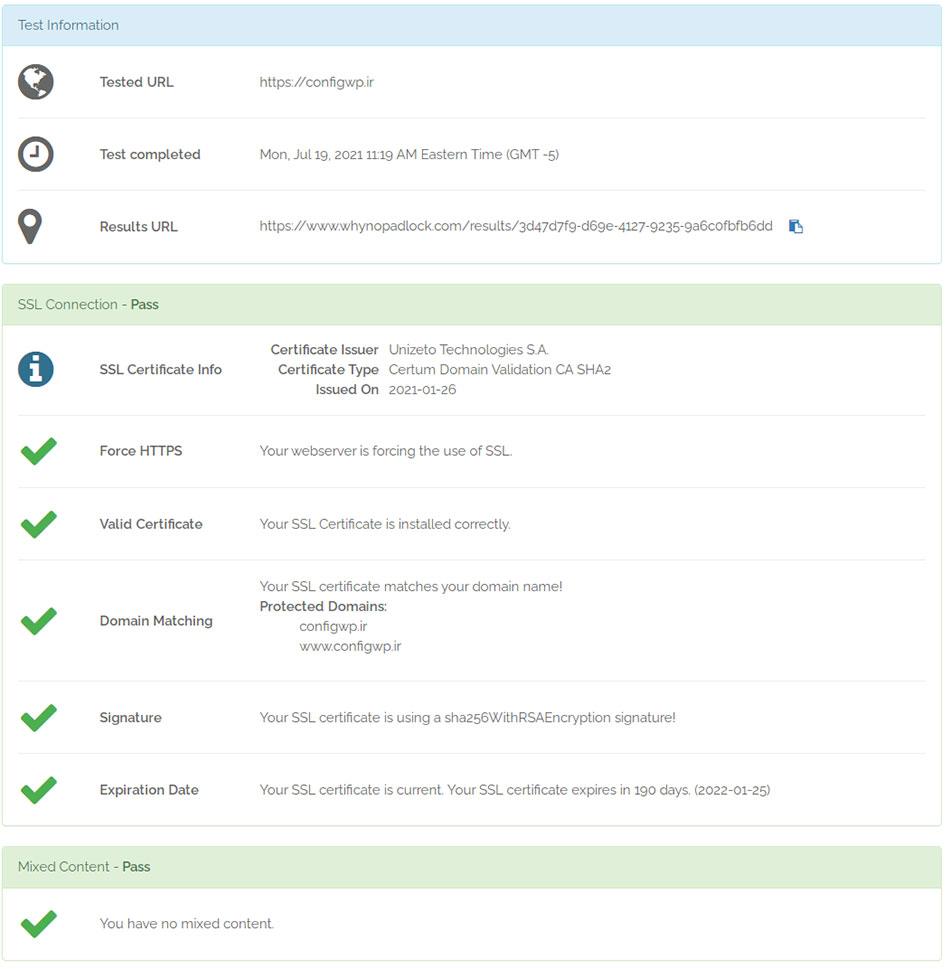 بررسی SSL سایت کانفیگ وردپرس