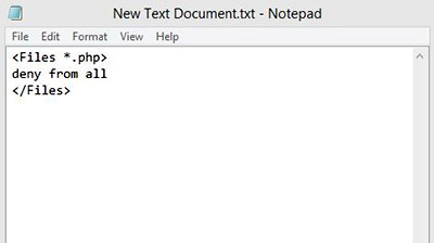 درج کد در نوت پد برای غیرفعالسازی اجرای فایل های php